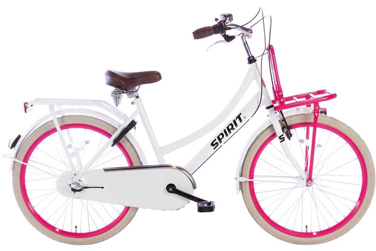 Spirit Cargo N3 Meisjesfiets Wit-Roze 24 inch
