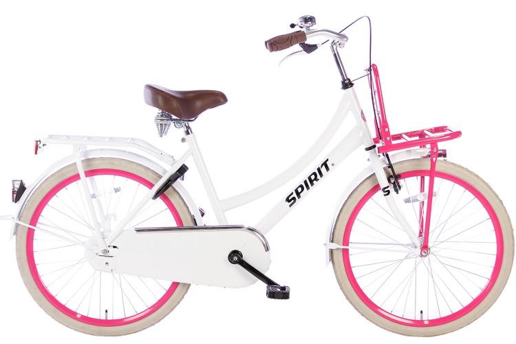 Spirit Cargo Meisjesfiets Wit-Roze 24 inch