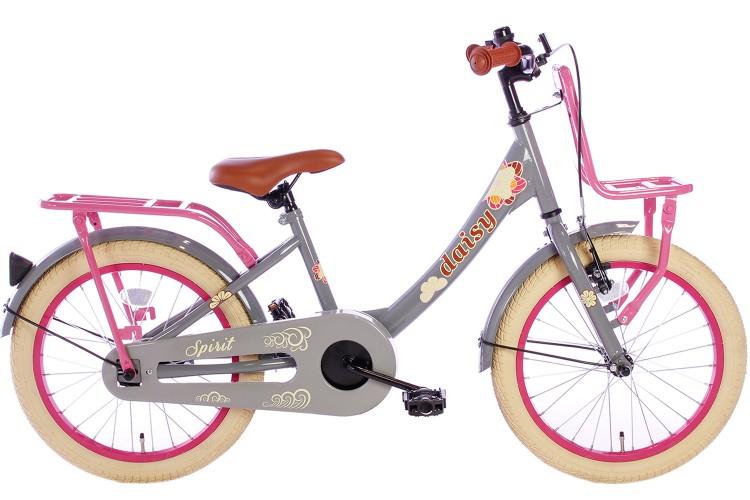 Spirit Daisy Meisjesfiets Grijs-Roze 18 Inch