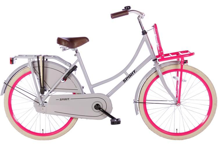 Spirit Omafiets Grijs-Roze Meisjesfiets 24 inch