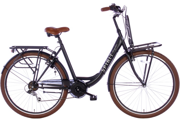 Spirit Regular Plus Damesfiets 7-Speed Mat-Zwart 2019